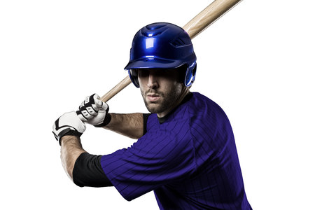 Baseball Player with a blue uniform on a white background. Stock Photo