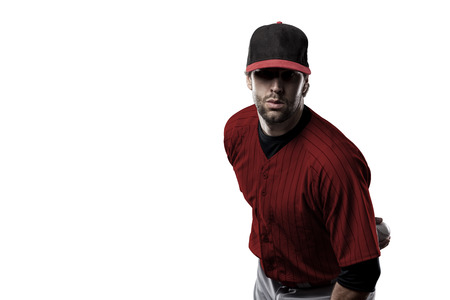 Pitcher Baseball Player with a red uniform on a white background.