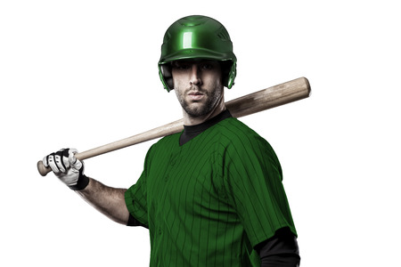 Baseball Player with a Green uniform on a white background.