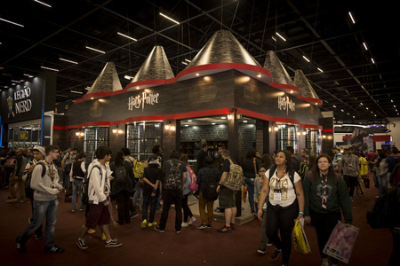 fandom: SAO PAULO - DECEMBER 1, 2016: Harry Potter booth in Sao Paulo Comic Con Experience, the annual pop culture and fandom convention in Brazil. Editorial