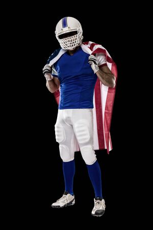Football Player with a blue uniform and a american flag, on a black background.