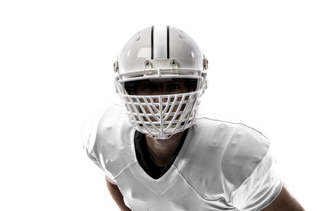 Close up of a Football Player with a white uniform on a white background.