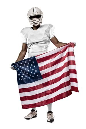 Football Player with a white uniform and a american flag, on a white background. Stock Photo