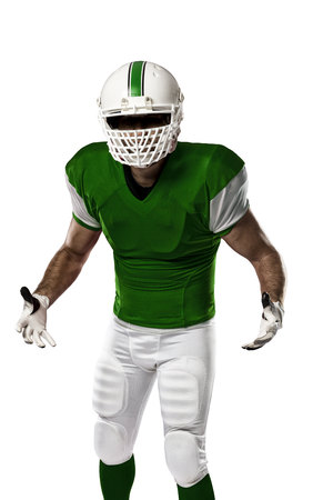 Football Player with a Green uniform on a white background.