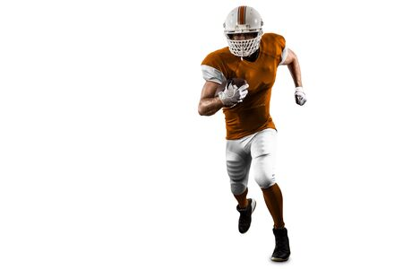 Football Player with a orange uniform Running on a white background. Stock Photo