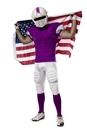 Football Player with a pink uniform and a american flag, on a white background.