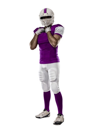 Football Player with a pink uniform on a white background.