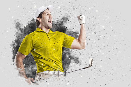 Golf Player with a yellow uniform coming out of a blast of smoke .