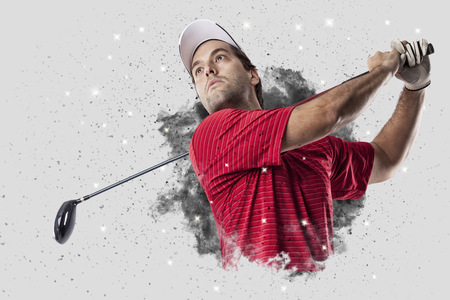 Golf Player with a red uniform coming out of a blast of smoke .
