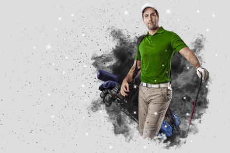 Golf Player with a green uniform coming out of a blast of smoke . Stock Photo