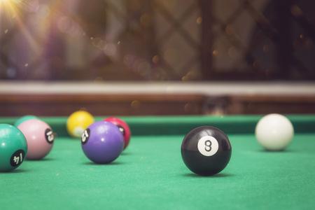 billiards halls: Billiard Balls in a pool table. Stock Photo