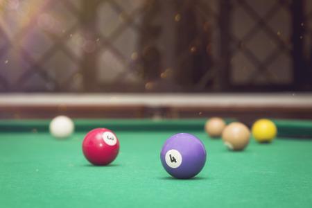 Billiard Balls in a pool table. Stock Photo