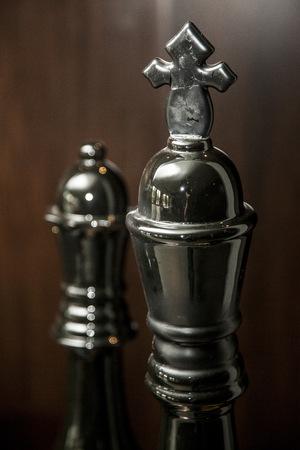 chess setup on dark background
