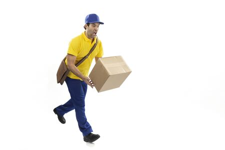 Brazilian mailman dropping a package on a white background. copy space.