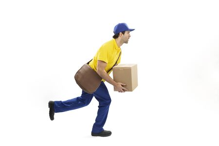 Brazilian mailman running with a package on a white background. copy space.