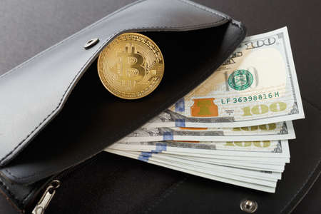 Bitcoins, hundred dollar bills and leather wallet 写真素材