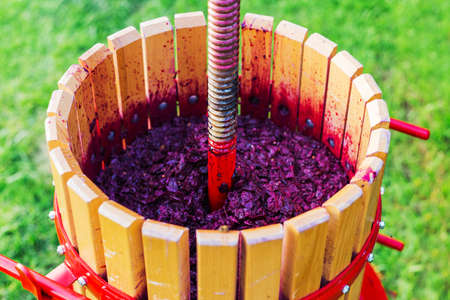 Wine press machine with red must and helical screw. Crusher, wooden winepress on grass outdoors.Concept of small craft business. Grape harvest. Special equipment for the production of wine, winemaking Stock fotó