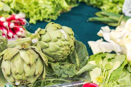 Fresh raw organic bio uncooked vegetables for sale at farmers market. broccoli, tomatoes, fennel at market, stock photo. Vegan food and healthy nutrition concept. Different types vegetables at market