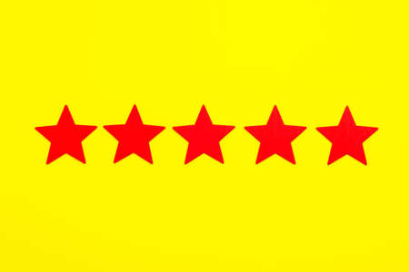 5 stars increase rating, Customer Experience Concept. 5 red stars excellent rating on yellow background