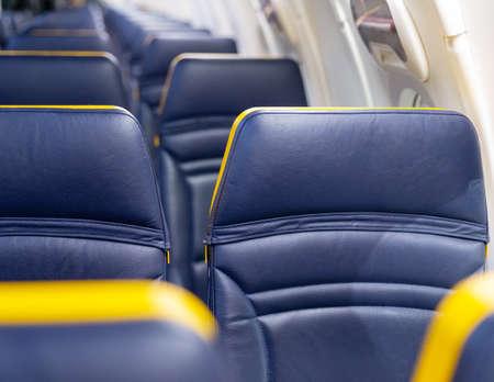Empty airplane.Coronavirus Outbreak. Passengers free airplane, cancelled flight. Cancelled flight, no travel, stop airline for prevention coronavirus pandemic. COVID 19 virus outbreak quarantine