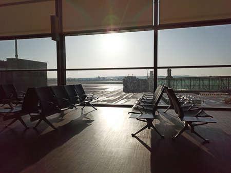 Empty airport. Waiting area zone. Flight delay cancellation. Travel and vacation concept. Coronavirus COVID19 quarantine.