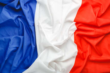 France flag background. French national flag as symbol of democracy, patriot. Closeup texture Flag France.Stock photo