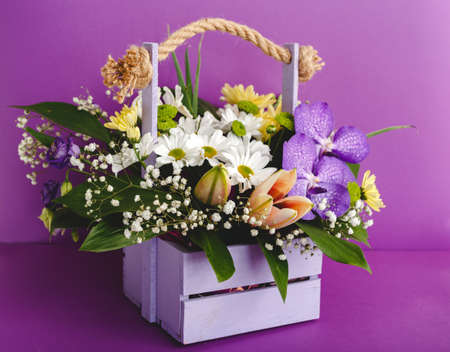 Beautiful bouquet of flowers in lilac wooden basket on purple background. Orchids, chrysanthemums, lilies, chamomiles floral floristic composition. Greeting card for romantic date, valentine day, 8 March 免版税图像