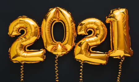 2021 balloon gold text on black background. Happy New year eve invitation with Christmas gold foil balloons 2021. Long web banner