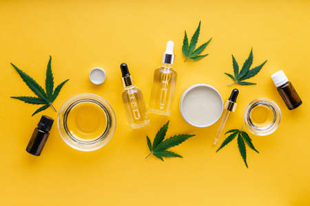 Varieties of hemp CBD oils, essential oil, Serum butter. Hemp tincture. Set cannabis cosmetic products with medical cannabis on yellow background Banco de Imagens