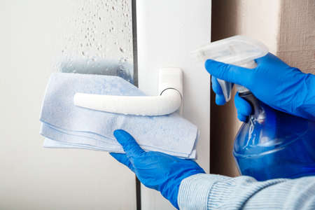 Door handle cleaning by antibacterial alcohol spray. Woman Houseworker in rubber blue gloves clean Door knob by cloth rag. New normal