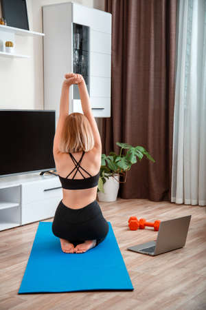 Sporty woman making fitness yoga at home via laptop by remote video call online. Young woman losing weight by online remote gym workout. Back view unrecognizable woman training Banco de Imagens