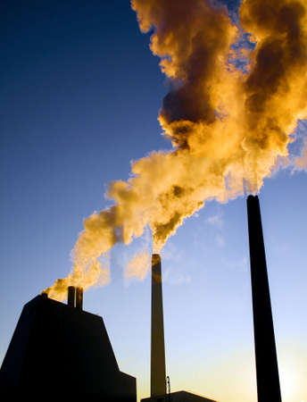 chemical hazard: Highly polluted smoke escaping from industrial chimneys
