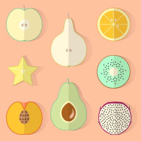 flat: obektov, fruit, flat.