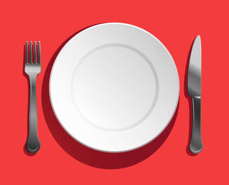 top view of empty white porcelain plate with fork and knife set on background.
