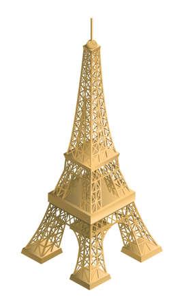 eifel: Eiffel Tower, 3d illustration, object, gold