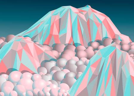 mountain snow: Mountain snow, illustration, 3d, color