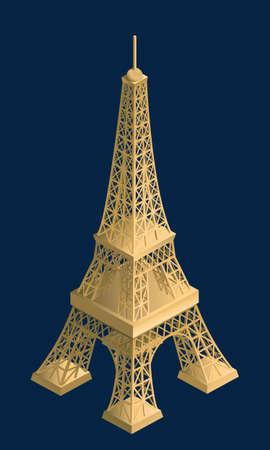 objec: 3d, tower, france, design, isometric, eiffel, objec