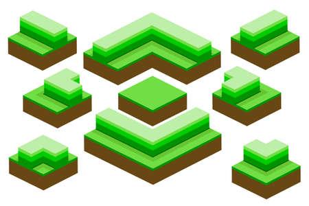bushes: various bushes isometric set . Vector illustration. Illustration