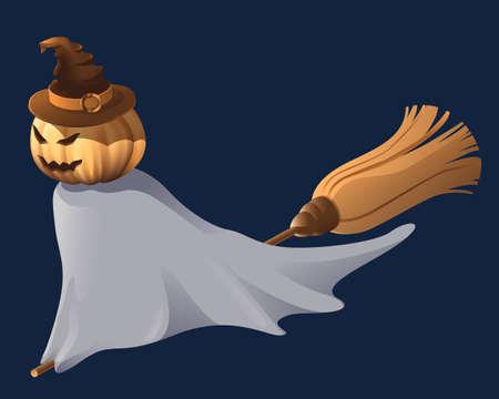 scary pumpkin: Halloween flying scary pumpkin on broom Illustration