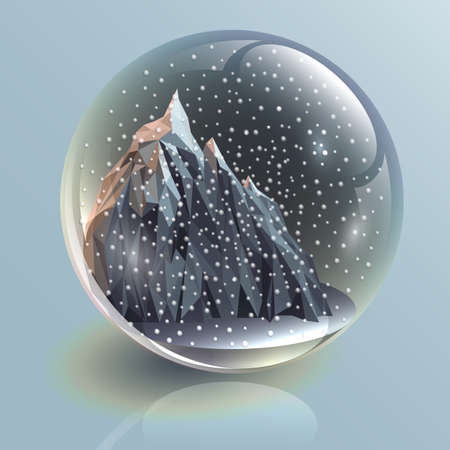 ball with snow, mountain, 3d, illustration
