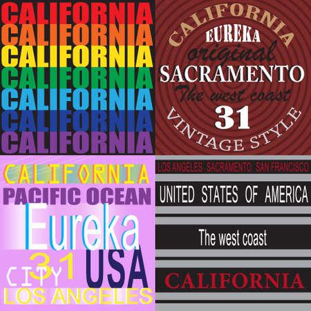 California  Set of t-shirt  Sports wear typography emblems, Creative design, Illustration