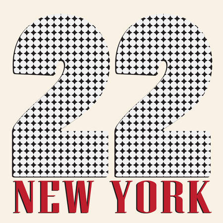 centers: Original New York  Vintage T-shirt Print. number of states Illustration