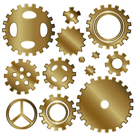 a set of gears. gold. Creative design, vector illustrations