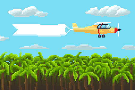 airplane with poster and palm trees. pixel vector illustration.
