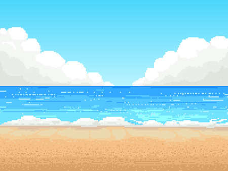Retro pixel 8 bit background. beach,