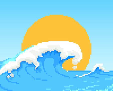 pixel, 8bit wave, retro style background