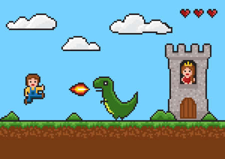 Pixel art 8-bit game scene. background with dragon, fire, man, princess in the tower
