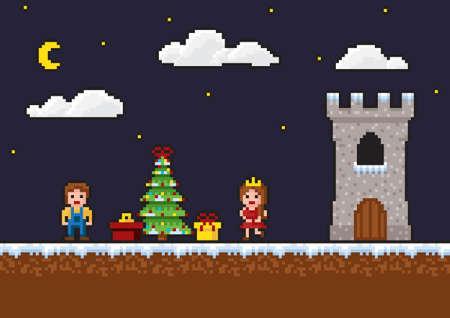 Escena de juego de pixel art de 8 bits. Fondo de año nuevo con un árbol de Navidad, regalos, una princesa
