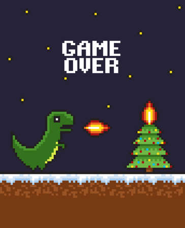 Pixel art 8-bit game scene. New Year background with a tree, a dragon, fire Illustration