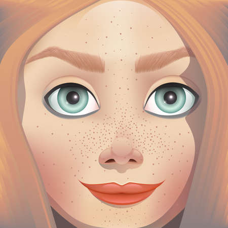 3d illustration face girl freckles